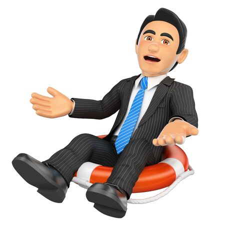 lifesaver: 3d business people illustration. Businessman sitting in a lifesaver. Bankrupt company. Isolated white background. Stock Photo