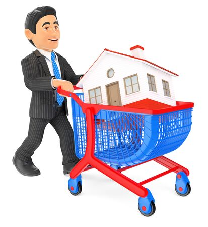 buyer: 3d business people illustration. Businessman pushing a shopping cart with a house. Real estate. Isolated white background.