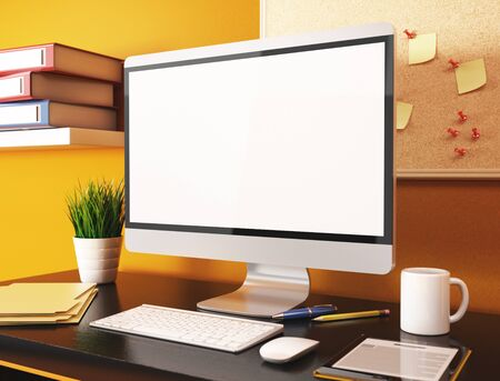 posit: 3D illustration office with blank computer screen. Mockup Stock Photo
