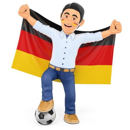 soccer team: 3d sport people illustration. Football fan with the flag of Germany. Isolated white background.