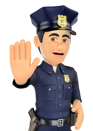 ordered: 3d security forces people illustration. Policeman ordered to stop with hand. Isolated white background.