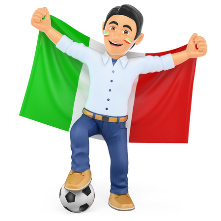 football fan: 3d sport people illustration. Football fan with the flag of Italy. Isolated white background.