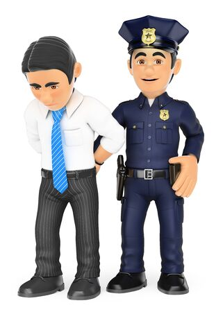 white collar: 3d security forces people illustration. Policeman arresting a thief. White collar criminal. Isolated white background.