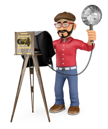 photo people: 3d working people illustration. Photographer taking a photo with a vintage camera. Isolated white background.