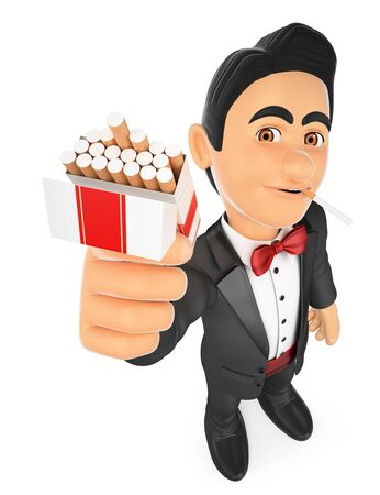 dependence: 3d bow tie people illustration. Tuxedo man smoking and offering a cigarette. Isolated white background. Stock Photo