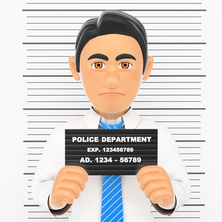 photo: 3d business people illustration. Businessman arrested. White collar criminal police photo. White background.