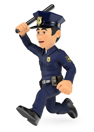 patrolman: 3d security forces people illustration. Policeman running with baton in hand. Isolated white background.