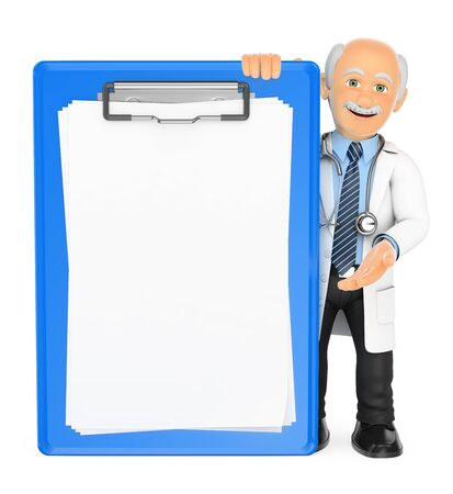 clipboard isolated: 3d medical people illustration. Doctor with a blank clipboard. Isolated white background. Stock Photo