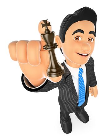 3d business people illustration. Businessman with chess king. Strategist. Isolated white background.