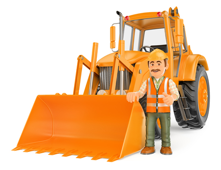 3d working people illustration. Construction worker with a backhoe. Isolated white background.