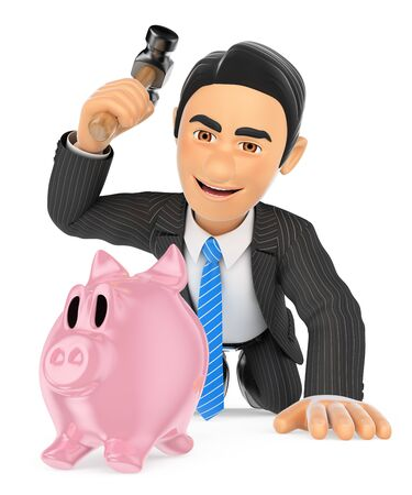 cash money: 3d business people illustration. Businessman breaking a piggy bank. Spend savings. Isolated white background. Stock Photo
