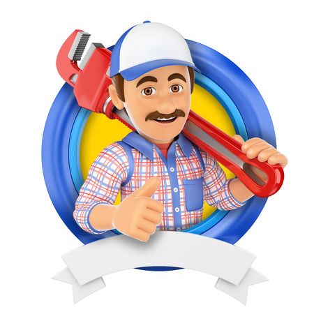 builder: 3d illustration. Plumber with pipe wrench. Isolated white background. Stock Photo