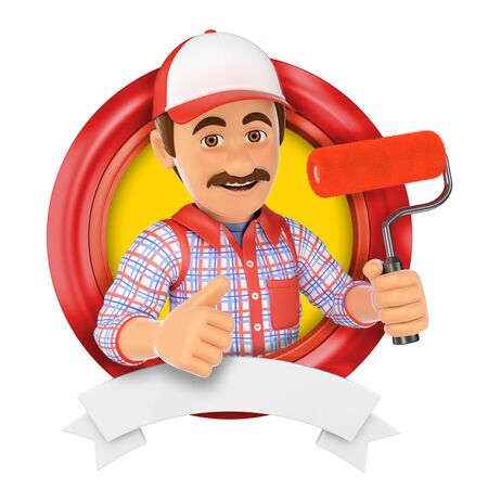 painter decorator: 3d  illustration. Painter with roller brush. Isolated white background.