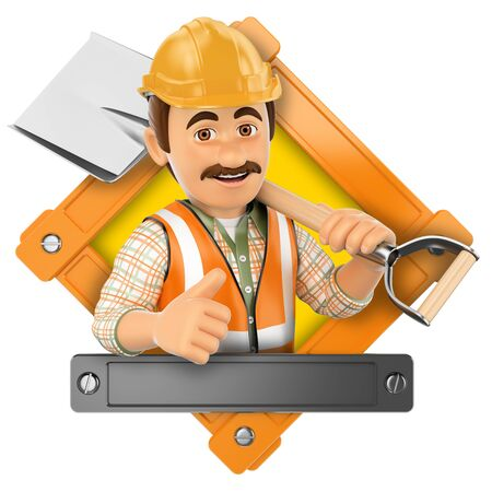 construction icon: 3d illustration. Worker with shovel. Isolated white background.