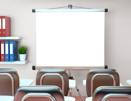 tripod projector: 3D Illustration workshop with blank projector screen. Office. Mockup. Mockup