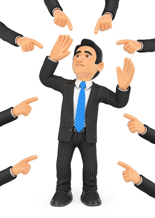 shame: 3d business people illustration. Businessman pointed out by many fingers. Isolated white background. Stock Photo