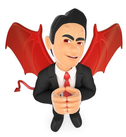 provocative: 3d business people illustration. Businessman devil. Isolated white background.