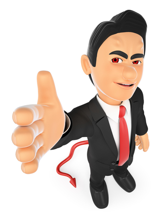 pact: 3d business people illustration. Businessman devil offering a deal. Pact. Isolated white background.
