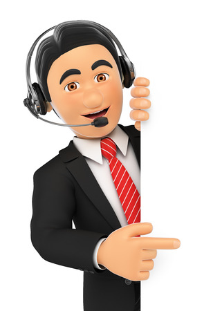 blank center: 3d business people illustration. Call center employee pointing aside. Blank space. Isolated white background.