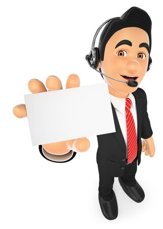 blank business card: 3d business people illustration. Call center employee with a blank card. Isolated white background. Stock Photo