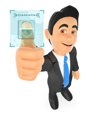 identifying: 3d business people illustration. Businessman identifying with fingerprint. Isolated white background.