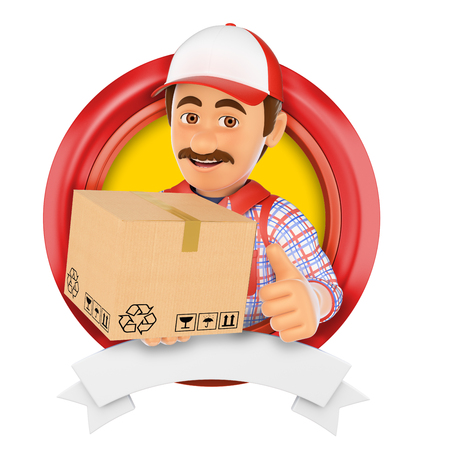 package sending: 3d  illustration. Courier service. Messenger. Isolated white background.