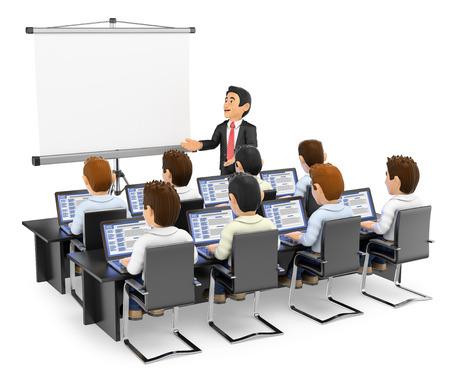 3d mensen onderwijs illustratie. Leraar aan studenten met laptops. Geïsoleerde witte achtergrond.