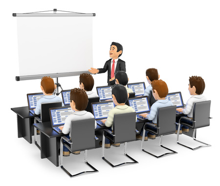 3d mensen onderwijs illustratie. Leraar aan studenten met laptops. Geïsoleerde witte achtergrond. Stockfoto