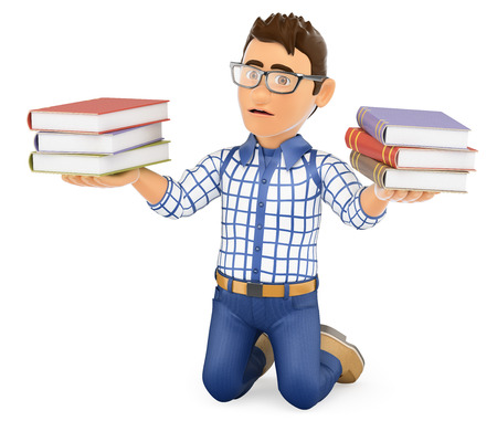 student with books: 3d education people illustration. Young student punished holding books. Isolated white background.