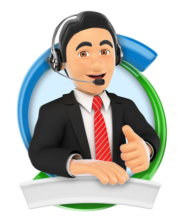 contact: 3d illustration. Call center. Custom service. Isolated white background.