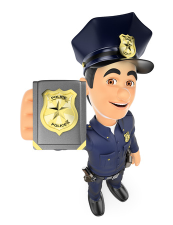 police: 3d security forces people illustration. Policeman showing police badge. Isolated white background.