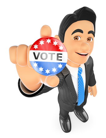 political: 3d business people illustration. Businessman with a vote badge. Isolated white background.