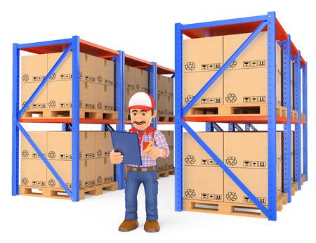 3d werkende mensen illustratie. Winkelier controleren van pallets in het magazijn. Geïsoleerde witte achtergrond