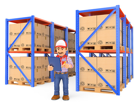 stockpile: 3d working people illustration. Storekeeper checking pallets in the warehouse. Isolated white background