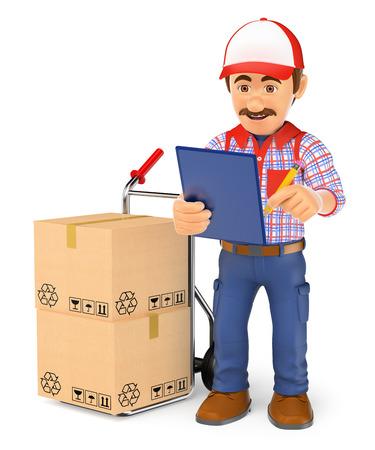 3d werkende mensen illustratie. Koeriers man controleren van de pakketten te leveren. Geïsoleerde witte achtergrond.