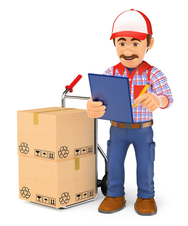 inventory: 3d working people illustration. Courier delivery man checking the packages to deliver. Isolated white background.