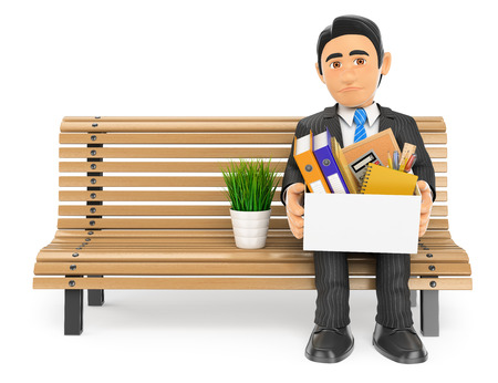 worried executive: 3d business people illustration. Businessman fired sitting on a bench with his stuff. Isolated white background.