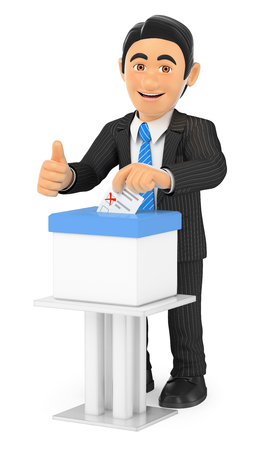 elect: 3d business people illustration. Businessman voting in a ballot box. Isolated white background. Stock Photo