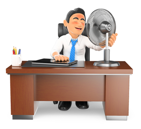 office environment: 3d business people illustration. Businessman heated in his office with a fan. Isolated white background.