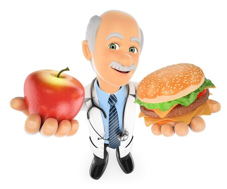 3d medical people illustration. Doctor choosing between an apple and a hamburger. Isolated white background. Stock Photo