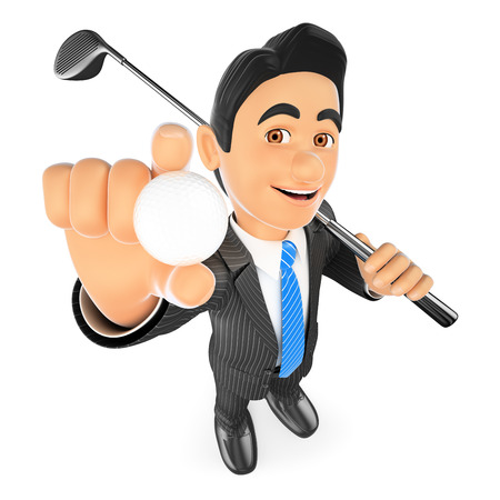 3d business people illustration. Businessman with a ball and a golf club. Isolated white background. Stock Photo