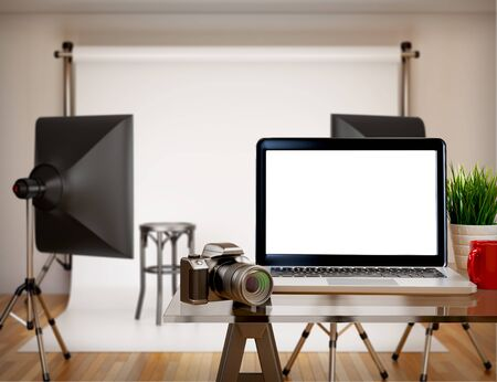 panels: 3D illustration photography studio with blank laptop screen. Mockup
