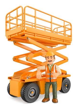 hydraulic platform: 3d working people illustration. Construction worker with a scissor lift. Isolated white background.
