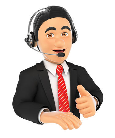 handsfree telephone: 3d business people illustration. Call center employee with thumb up. Isolated white background. Stock Photo