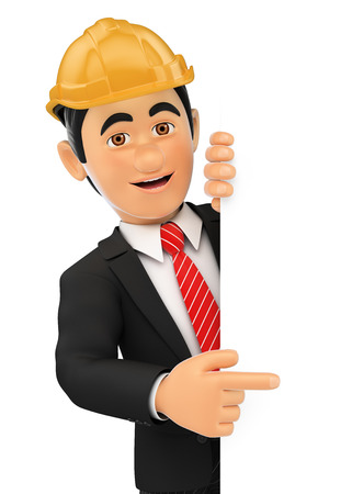 aside: 3d business people illustration. Architect pointing aside. Blank space. Isolated white background. Stock Photo