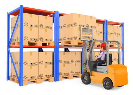 3d working people illustration. Storekeeper driving a forklift  in the warehouse. Isolated white background.