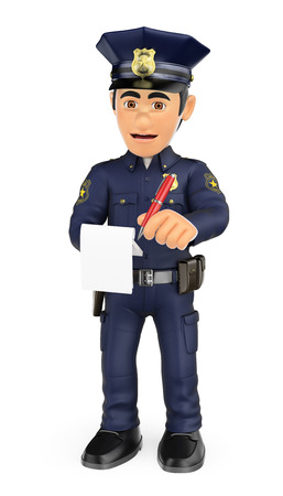 3d security forces people illustration. Policeman imposing a traffic ticket. Isolated white background.