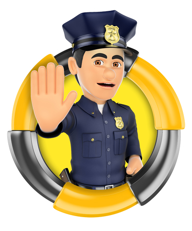 ordering: 3d logo illustration. Policeman ordering to stop with hand. Isolated white background. Stock Photo