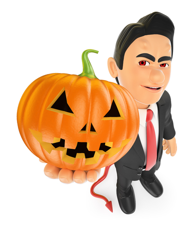 large: 3d halloween people illustration. Funny monster. Devil with a big pumpkin. Isolated white background.