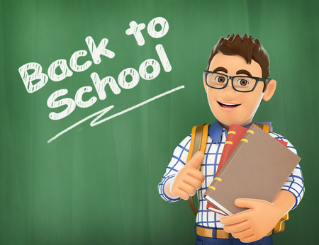 3d education people illustration. Young student back to school on a chalk